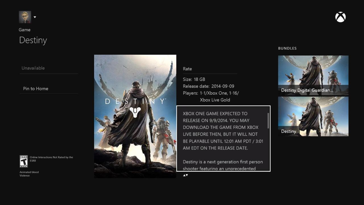 Пользователи получат возможность предварительно загрузить Destiny на Xbox One