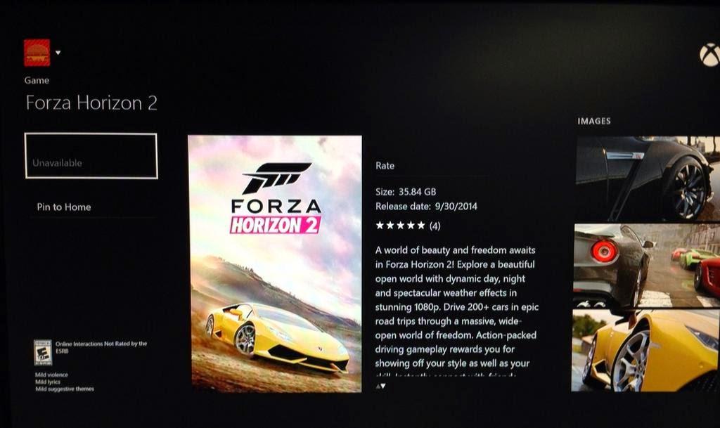 Игра Forza Horizon 2 займет на Xbox One чуть больше 35 Гб