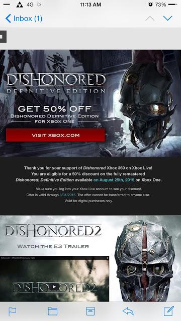Купить Dishonored Definitive Edition для Xbox One со скидкой в 50% можно будет до конца августа