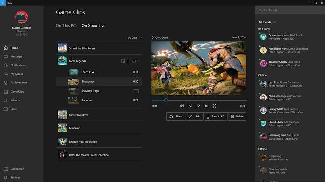 Сентябрьское обновление приложения Xbox для Windows 10, список изменений