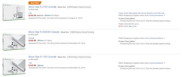 Xbox One S признана бестселлером на Amazon и активно разлетается по предзаказам