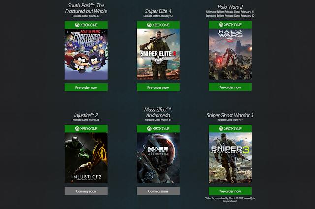 Microsoft слила даты выхода крупных игровых проектов 2017 года