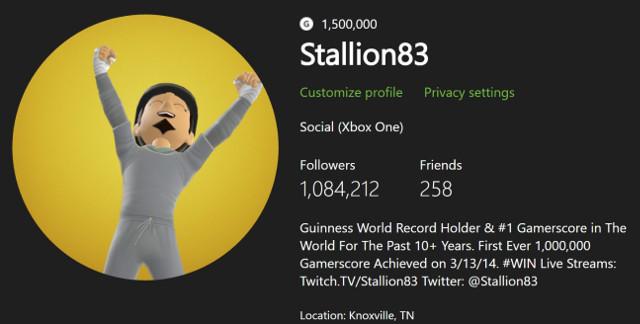 Рекордсмен Xbox Live – пользователь Stallion83 достиг отметки в 1,500,000 GamerScore