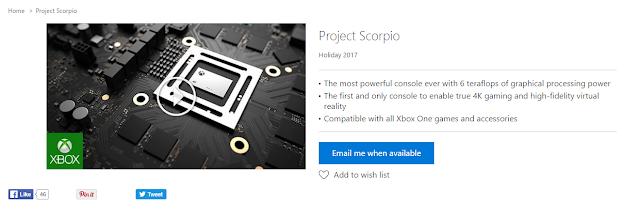 Страница с консолью Project Scorpio появилась в магазине Microsoft