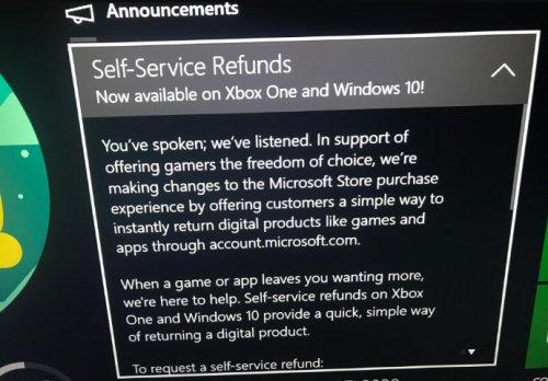 На Xbox One появится возможность возвращать деньги за купленные игры