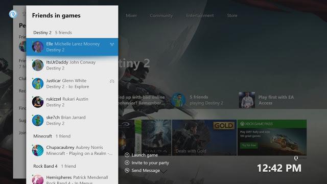 Новая функция альфа-прошивки Xbox One: группировка друзей по играм