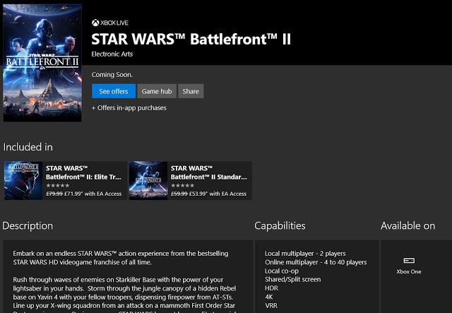 Star Wars Battlefront 2 будет работать на Xbox One X в разрешении 4K с поддержкой VRR