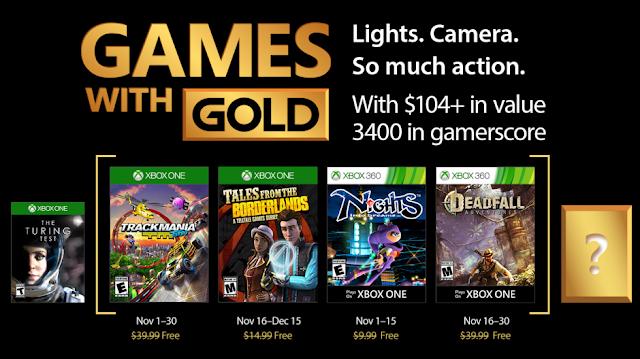 Объявлены бесплатные игры по программе Games With Gold в ноябре
