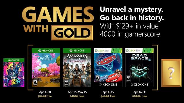 Список бесплатных игр по программе Games With Gold в апреле