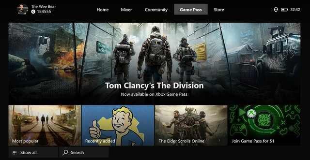 Xbox Game Pass получит свою вкладку в интерфейсе Xbox One