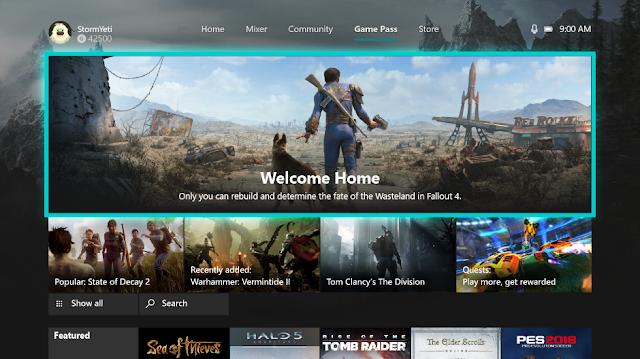 С обновлением прошивки Xbox One у Xbox Game Pass появилась вкладка в главном меню
