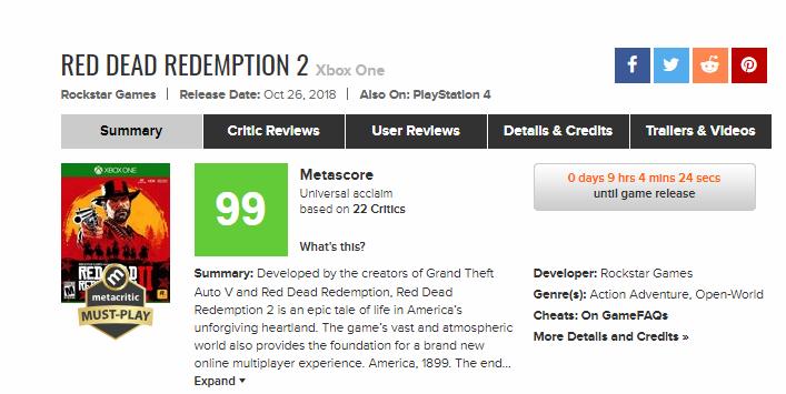 Первые рецензии на Red Dead Redemption 2: игра получила 99/100 на Xbox One