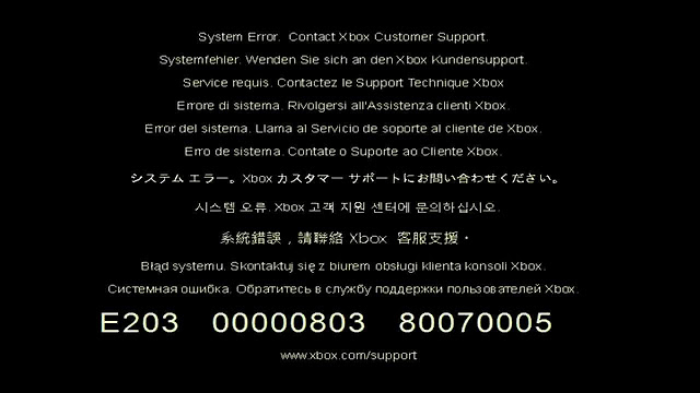 Последнее обновление прошивки Xbox One привело к ошибке E203