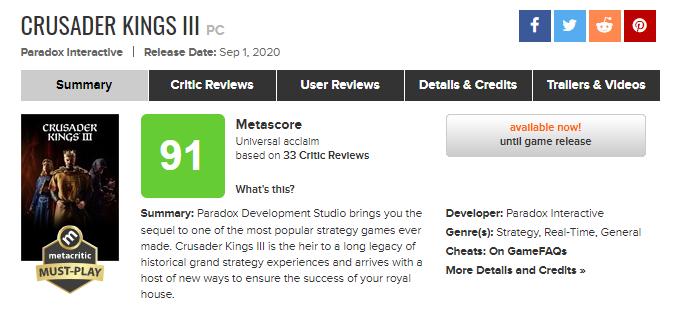 Хит в Game Pass: Crusader Kings III станет доступна по подписке сегодня