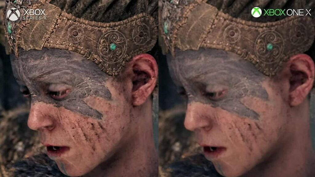 Сравнение графики в Hellblade на Xbox Series X и Xbox One X
