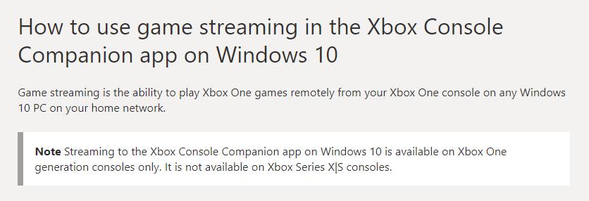 Потоковая передача игр с Xbox Series X | S на Windows 10 PC не поддерживается