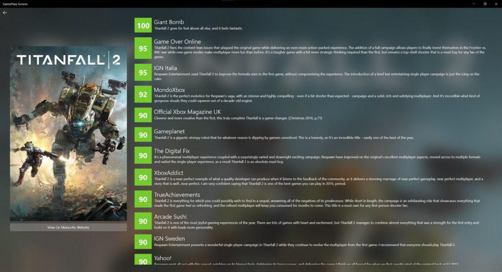 GamePass Scores позволяет определить лучшие игры в подписке