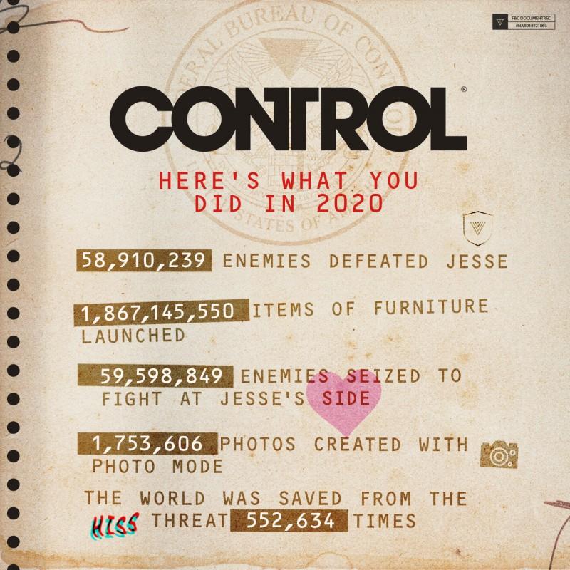 Разработчики Control поделились интересными итогами 2020 года