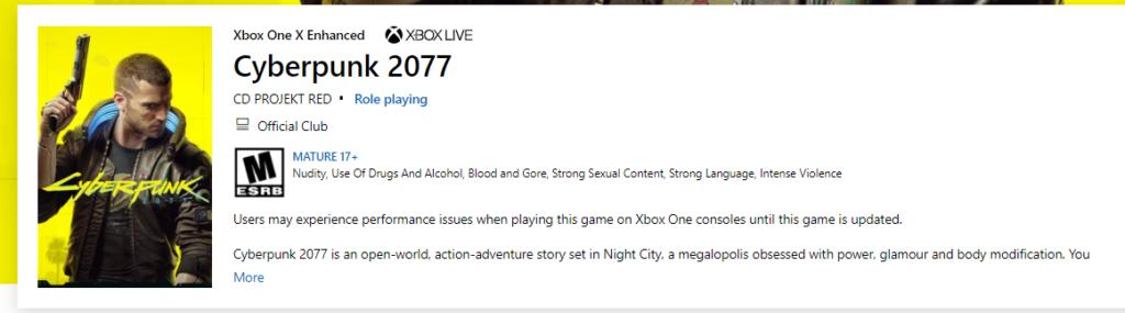 Microsoft теперь предупреждает игроков о возможных проблемах в Cyberpunk 2077 на Xbox One