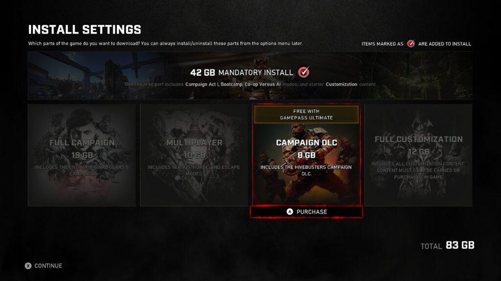 В Gears 5 теперь можно выбрать компоненты игры для установки
