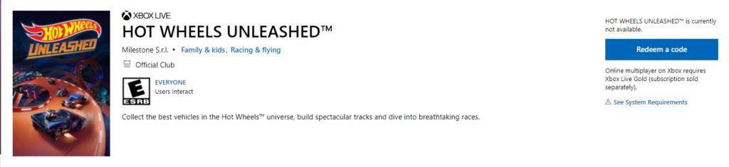 В Microsoft Store обнаружили игру Hot Wheels Unleashed