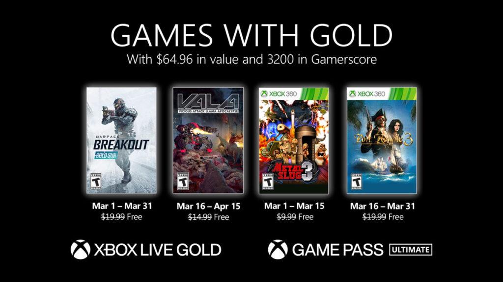 Список бесплатных игр по программе Games With Gold в марте