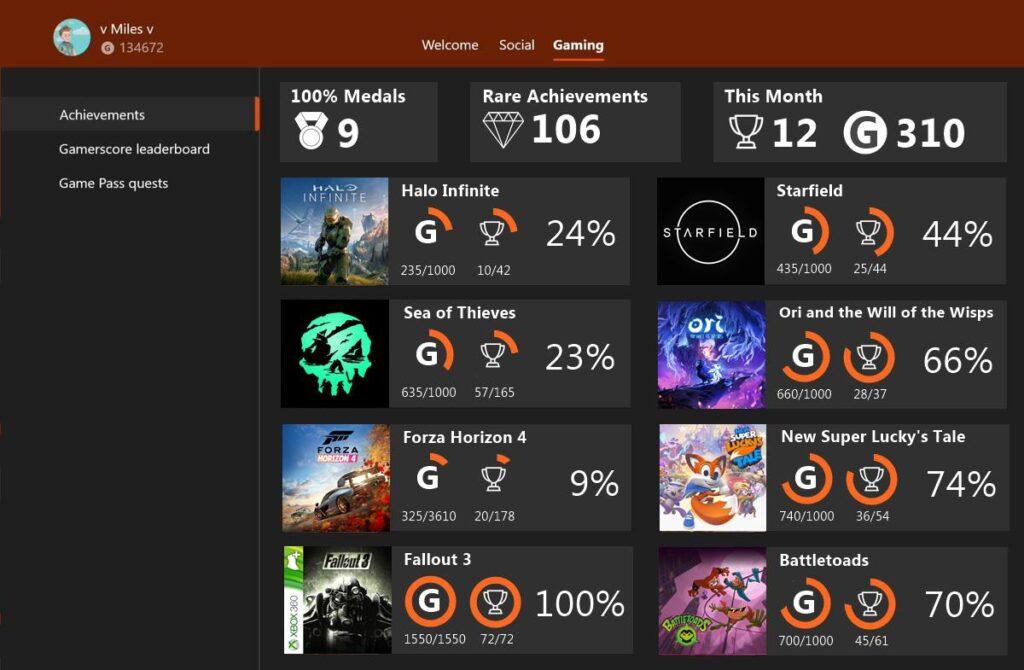 Концепт: Как мог бы выглядеть раздел с достижениями Xbox