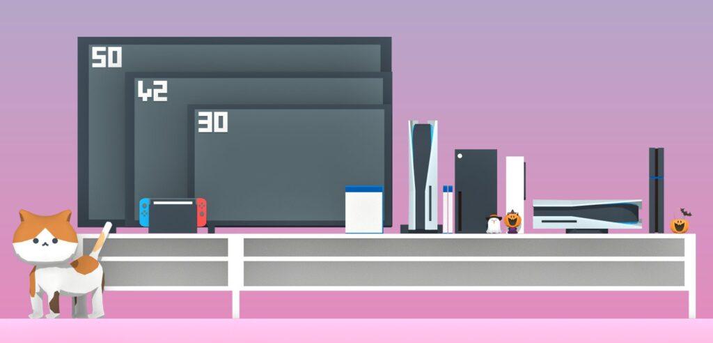 Сравнение размеров Xbox Series X и Playstation 5 с телевизорами разных диагоналей