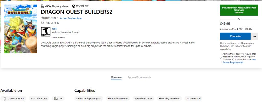 Microsoft Store: игра DRAGON QUEST BUILDERS 2 выйдет на Xbox и в Game Pass