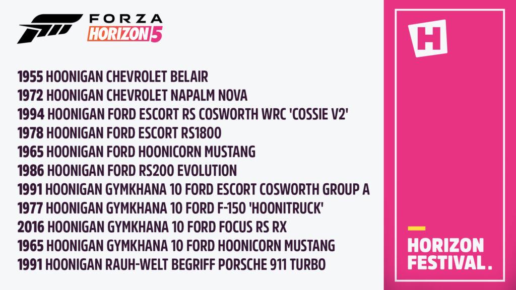 11 автомобилей Hoonigan будут доступны в Forza Horizon 5 на старте