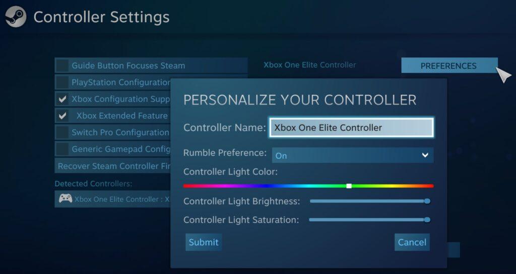 Через Steam можно настраивать цвет кнопки меню Xbox One Elite Controller Series 2