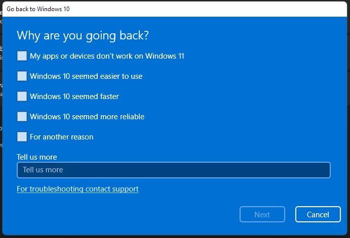 После обновления до Windows 11 можно будет легко вернуться на Windows 10